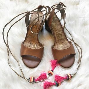 Sam Edelman Tan Tassel Block Heel Sandals Size 7